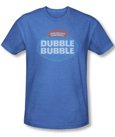 Mens Dubble Bubble Logo Retro Tee Shirt in Blue. Another cool retro tee at Generation T in Ambler T Shirt Image, Retro Shirts, Retro Logos, Great T Shirts, Mens Tee Shirts, Funny Tees, Shirt Designs, Graphic Tees, Bubble