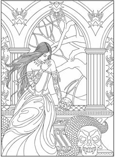 Adult Fantasy Woman Skulls Snake Coloring Pages Printable And Book To Print For Free Find More Online Kids Adults Of
