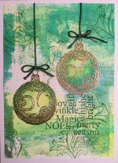 Art Journey Design-team: Christmas card - Geliplate background