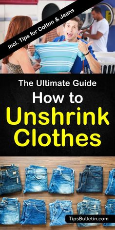 How To unshrink clothes with detailed tips on unshrinking cotton, wool, rayon, polyester, jeans (pants) and your sweater. Includes instructions using baby shampoo, hair conditioner and other home remedies.#unshrink #clothes #laundry