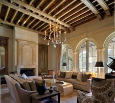 Country French Living Room with antique Louis XV mantle and over mantle. by Ken Tate Architect Country Style Living Room, French Country Style, Modern Country, Modern Farmhouse, French Living Rooms, Living Spaces, Interior Exterior, Interior Design, Country Interior