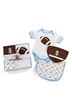 Cute football onesie and bib set.