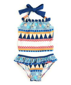 Loving this Navy Geometric Tankini - Toddler & Girls on #zulily! #zulilyfinds