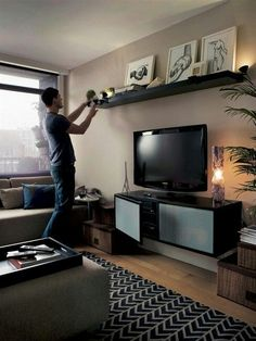 Ikea Lack shelf above tv More. Ikea Lack shelf above tv More. Easy Tips For Dynamic Living Room. Living Room Shelves, Living Room Tv, Apartment Living, Home And Living, Apartment Furniture, Ikea Furniture, Apartment Therapy, Men Apartment, Furniture Storage