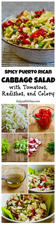 Spicy Puerto Rican Cabbage Salad with Tomatoes, Radishes, and Celery plus a Sriracha-Lime Dressing; this unusual cabbage salad is a delicious side dish that sings with flavor.  [from KalynsKitchen.com]