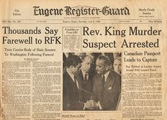 Front Page June 8 1968 - RFK Kennedy Funeral Train - MLK Martin Luther King Jr Murder