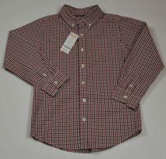 Gymboree Boy's Black&Red Checks Holiday button down Dress Shirt size M 7-8