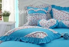 Lovely Blue Color with Cute Dot Princess Style Bedding Sets 4 Piece Duvet Cover Sets Best Bedding Sets, Queen Bedding Sets, Luxury Bedding Sets, Comforter Sets, Bed Cover Design, Bed Linen Design, Bed Covers, Duvet Cover Sets, Bed Linen Inspiration