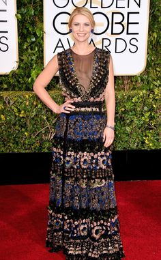 Claire Danes from 2015 Golden Globes Red Carpet Arrivals  In Valentino
