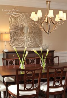 The simple addition of accessories make this dining room comfortable, yet stunning #interiordesign