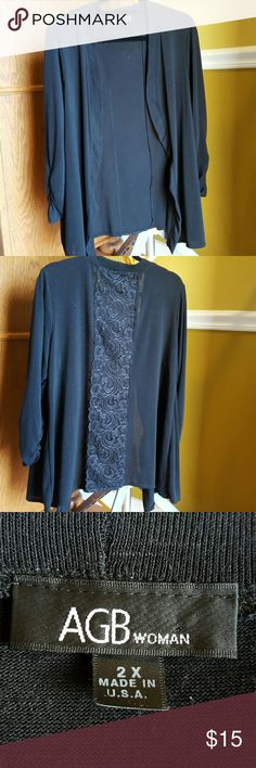 Lightweight Black Cardigan with Lace Good used condition.  Black knit cardigan with lace panel down the back.  Rouching on the sleeves.  Size 2X AGB Tops