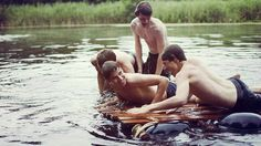 The boys messing around at the lake - 1977