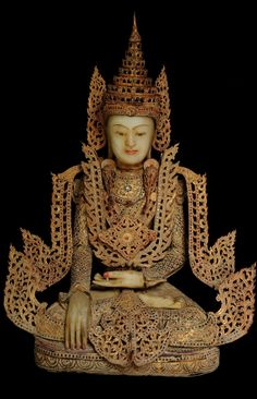 Extremely Rare Early 19C Royal King Crowned Jambupati Buddha #DW078