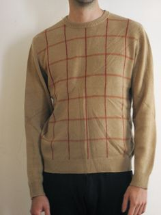 Vintage cashmere grid sweater in camel and red