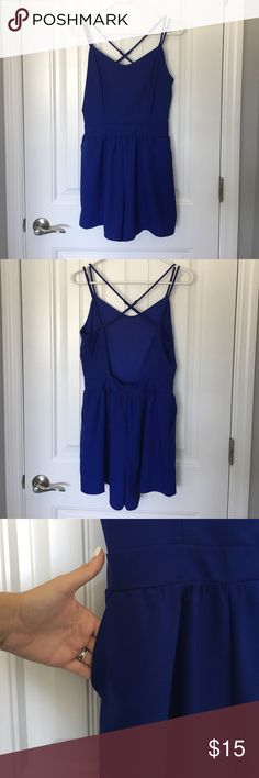 Royal Blue Altered Start Romper This royal blue romper has an open back + pockets Perfect outfit that's easy to throw on and look great.  Altered State brand. Never worn w/ tags detached. Altered State Dresses Mini