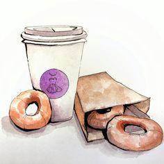#еда #скетч #кофе #пончики #иллюстрация