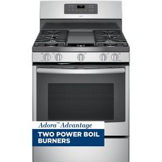GE Adora 5.0 cu. ft. Gas Range with Self-Cleaning Convection Oven in Stainless Steel, Silver/Gray
