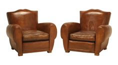 French Classic Moustache Leather Club Chairs on DECASO.com