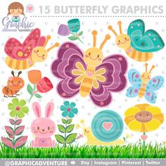 Butterfly Clipart, Butterfly Graphics, COMMERCIAL USE, Kawaii Clipart, Butterfly Party, Planner Accessories, Ant Clipart, Flower Clipart Owl Clip Art, Butterfly Clip Art, Butterfly Template, Butterfly Party, Puppy Clipart, Digital Stamps, Digital Papers, Digital Scrapbooking, Butterfly Illustration
