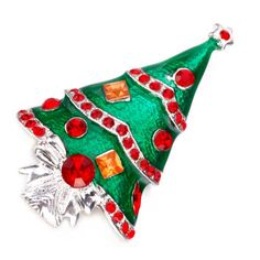 PUGSTER® RED YELLOW SHINING STARS GIFTS GREEN CHRISTMAS TREE BROOCH PIN Z68