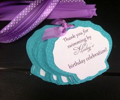 Under The Sea Mermaid Custom Favor Thank You by melizabethdesign Second Birthday Ideas, 5th Birthday Party Ideas, 3rd Birthday, Little Mermaid Birthday, Little Mermaid Parties, Mermaid Party Favors, Mermaid Baby Showers, Under The Sea Party, Party Favor Tags