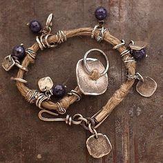 natural linen bracelet  sapphire sterling silver by ewalompe, $150.00