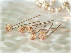 Wedding Citrine 5 U Pins Set. Spring Couture Gift. Rust Gold Golden Beads by sofisticata,  http://sofisticata.etsy.com MORE colors!