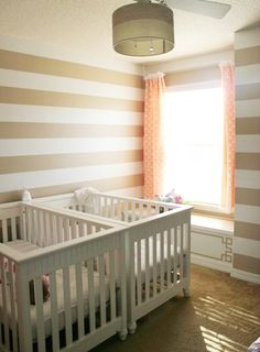 Twin Nursery In A Smaller Room Cute And Chevron Curtains Note Crib Placement