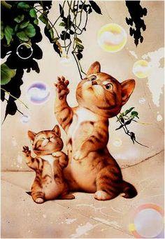 AMARNA IMAGENS: PINTURAS DE MAKOTO MURAMATSU - gatos 2