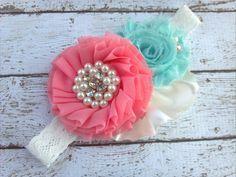 @Skylar Richardson Baby headband, flower girl headband, shabby chic headband, newborn headbands,shabby flower headband, coral aqua ivory