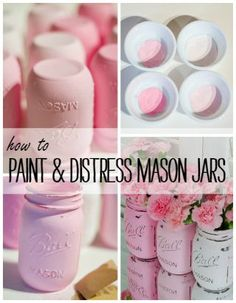 How to Paint & Distress Mason Jars - Painted Mason Jars: Pink @Mason Jar Crafts Love