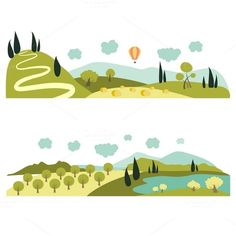 Summer landscapes by masastarus on Creative Market