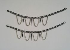 BAREFOOT mixed metal spike and hanging chain anklet set Metal Spikes, Hand Chain, Mixed Metals, Anklets, Barefoot, Jewelry Design, Hands, Silver, Money