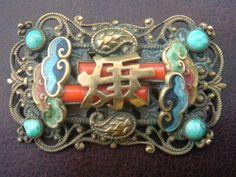Czech Art Deco Max & Norbert Neiger Chinese Oriental Brooch Pin