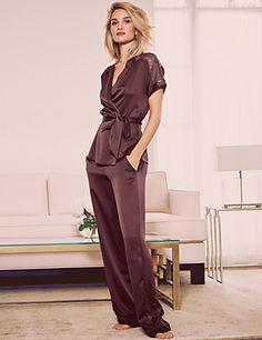 Indulge in stylish new season lace satin wrap pyjamas in burgundy - perfect for autumn! Jolie Lingerie, Women Lingerie, Silk Pajamas, Pyjamas, Lingerie Sleepwear, Nightwear, Rosie For Autograph, Trendy Hoodies, Pretty Lingerie
