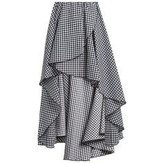 Caroline Constas Adelle gathered cotton-gingham skirt (€540) ❤ liked on Polyvore featuring skirts and black white