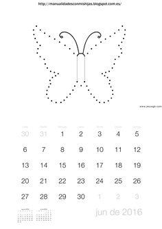 Manualidadesconmishijas: Calendario 2016 junio. unir puntos mariposa