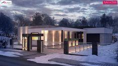Zx96 D - Nowoczesny dom parterowy z odwróconym układem pomieszczeń oraz garażem. One Story Homes, Story House, Modern House Design, Modern Houses, House In The Woods, Exterior, Mansions, Architecture, House Styles