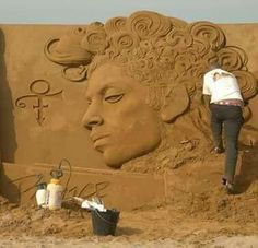 Sand Art of #PurpleOne .... in Belgium, Oostende! ....where EXACTLY is this beach? Summer 2016 #lovethis