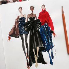 Fashion illustration by @marina_sidneva fashion sketch, drawing, art #sketch #fashionsketch