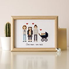 3-6 Adults. Custom Cross Stitch Family Portrait by RussianStitches
