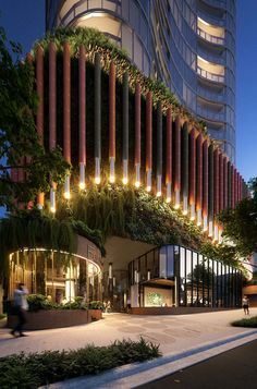 Woods bagot aria south brisbane with communal space brisbane architecture Commercial Architecture, Futuristic Architecture, Facade Architecture, Amazing Architecture, Brisbane Architecture, Hotel Design Architecture, Design Entrée, Facade Design, Exterior Design