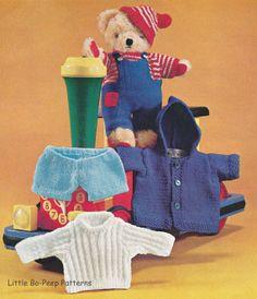 Vintage Teddy Bear clothes knitting pattern - PDF