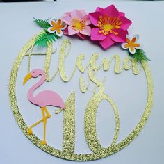 Flamingo Party, Flamingo Birthday, Luau Birthday Cakes, Birthday Cake Toppers, Hawaiian Party Decorations, Gold Cake Topper, Ideas, Crafts For Children, Creative Crafts