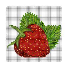 Strawberry chart Cross Stitch Fruit, Cross Stitch Kitchen, Cross Stitch Rose, Simple Cross Stitch, Cross Stitch Flowers, Cross Stitch Charts, Cross Stitch Patterns, Cross Stitching, Cross Stitch Embroidery
