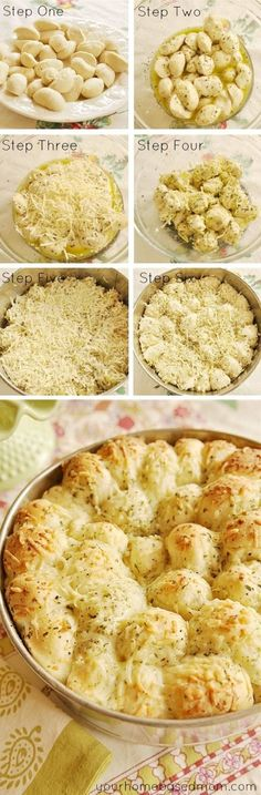 Garlic Cheese Pull-Apart Bread 16 frozen white dinner rolls (Rhodes brand) ½ C butter, melted 1 C grated Parmesan cheese, divided 1 tsp dry parsley flakes tsp garlic powder ½ tsp salt ½ tsp Italian seasoning ½ tsp onion powder - YUM! Think Food, I Love Food, Good Food, Yummy Food, Healthy Food, Yummy Recipes, Cooking Recipes, Recipies, Bread Recipes