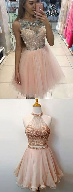 Cute Round Neck Pink Tulle Short Prom/Homecoming Dress with Beading prom,homecoming,homecoming dress,pink homecoming dress,short homecoming dress
