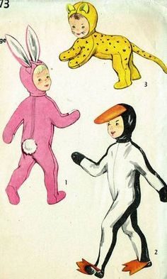 1950s Cute Kids Animal Costume Pattern Unused Vintage Simplicity Design Sz 10-12