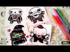 Halloween Drawings - How To Draw Cute Monsters #2 by Garbi KW - YouTube