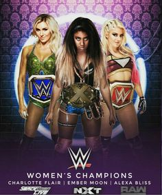 Smack Down (Blue)..... NXT (WWE)...... RAW  (Red)........ Women Champs (2017).